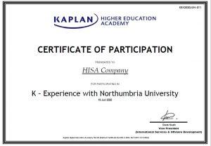 Chứng nhận của học viện Kaplan Singapore cho du học HISA