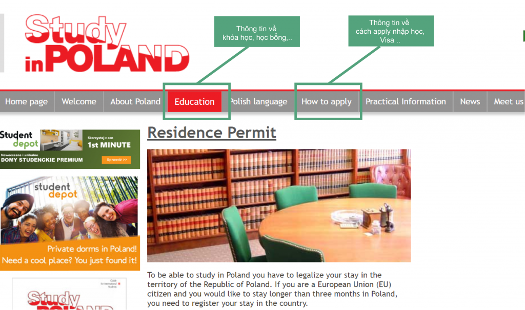 trang web thông tin du học Ba Lan