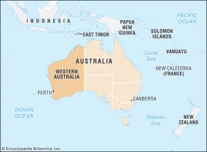 vị trí địa lý của tiểu bang tây úc và thành phố Perth