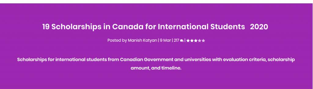 19 loại học bổng cho sinh viên quốc tế du học tại Canada 2020