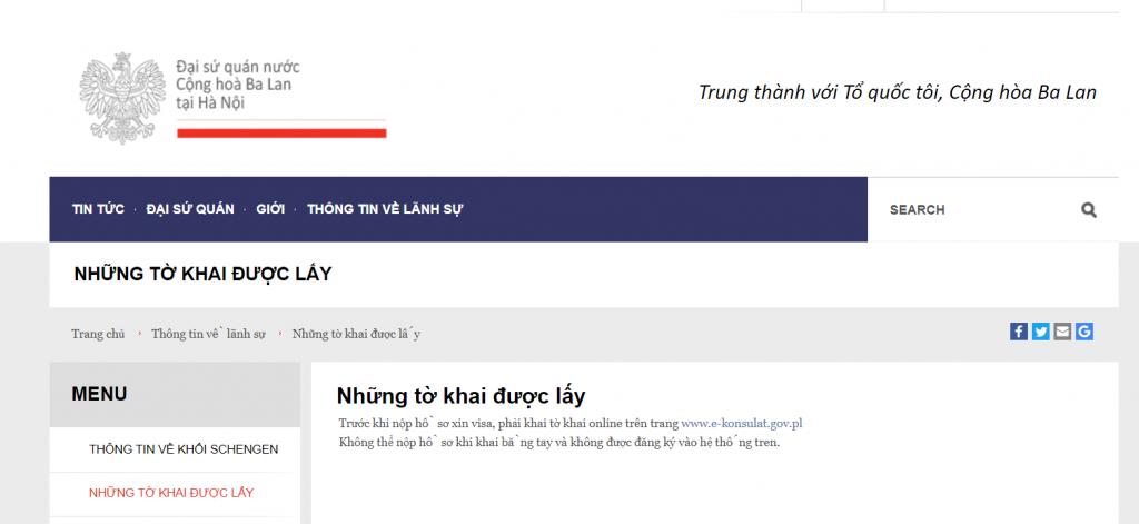 cần phải lưu ý các thông tin khi điền từ khai online trên web của đại sứ quán Ba Lan