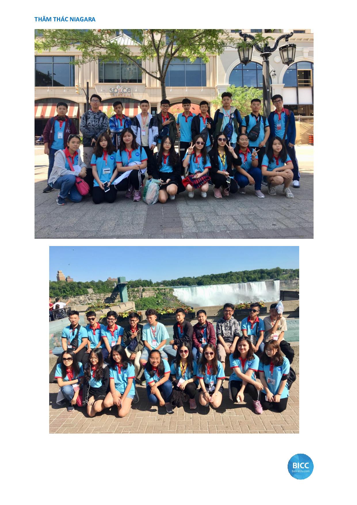 Học sinh thăm quan thác Niagara