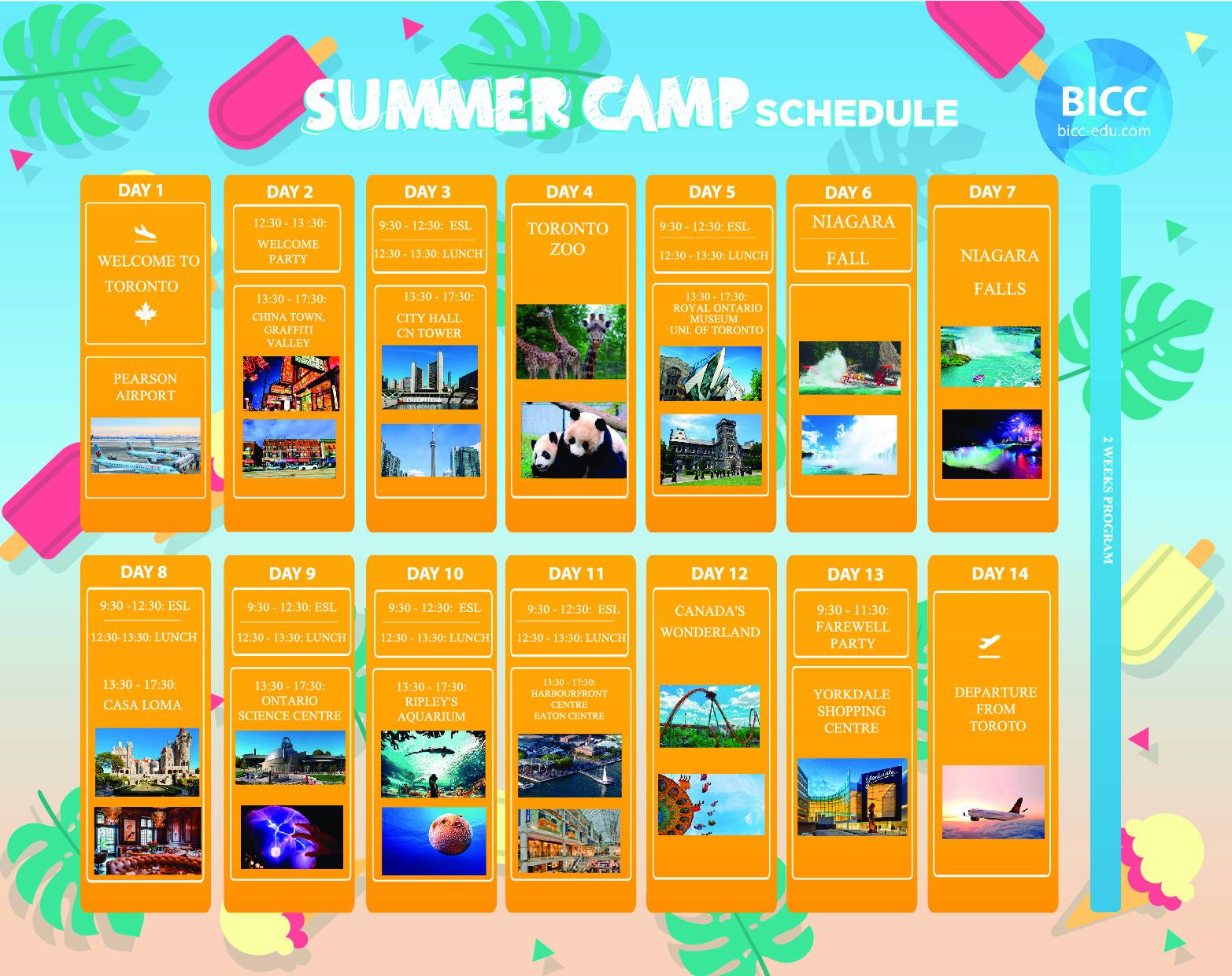 Lịch trình trại hè BICC