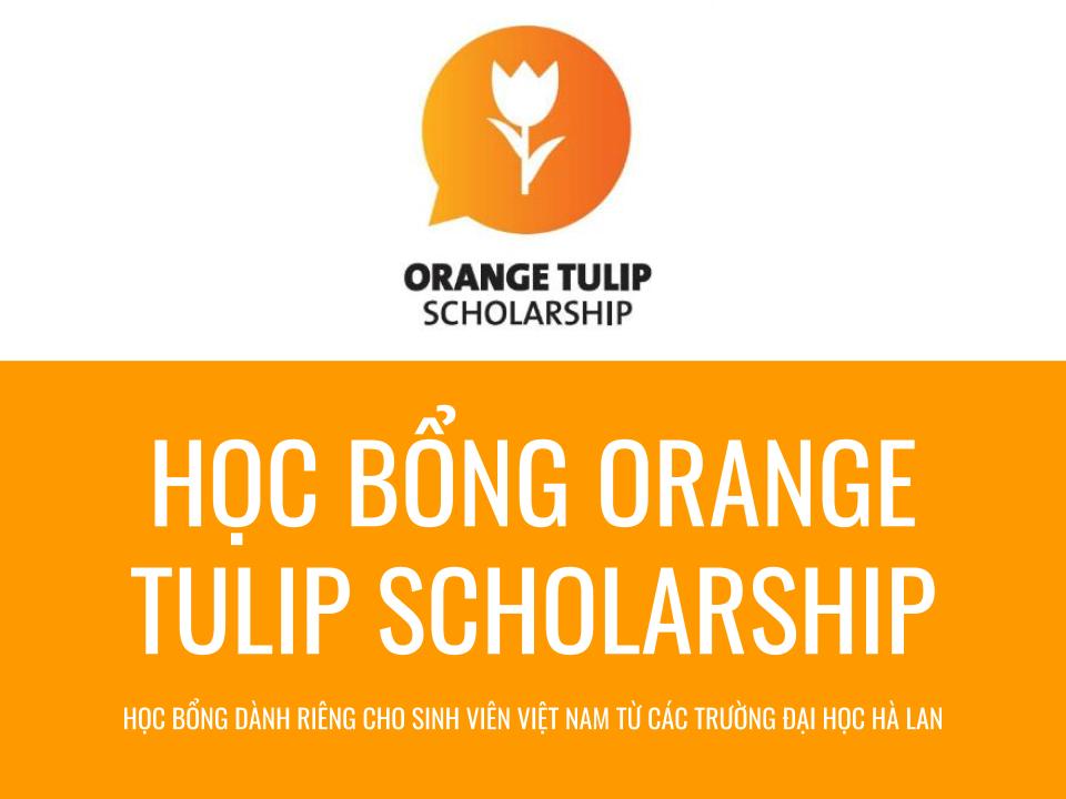 Học bổng du học Hà Lan 2020 Orange Scholarship