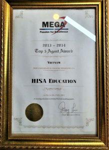 Chứng nhận của tổ chức giáo dục quốc tế MEGA dành cho HISA về top5 công ty xứng đáng nhất