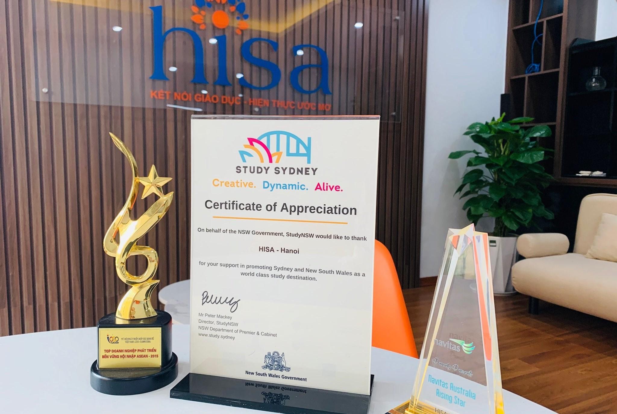 Thư cảm ơn của chính quyền bang New South Wales Úc dành cho du học HISA về sự uy tín