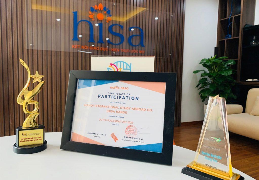 Chứng nhận về sự đóng góp cho sự kiện du học Hà Lan của Nuffic Neso dành cho du học HISA